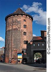 antiga, torre, em, gdansk, poland.