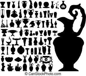 antiga, vasos, (vector)