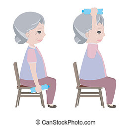 antigas, água, exercício, bebendo, senhora, levantamento