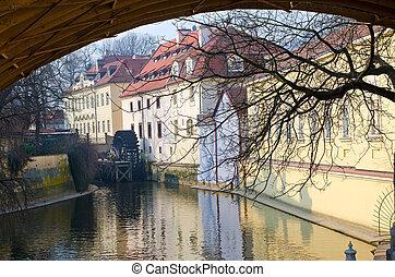 antigas, água, moinho, ligado, um, rio, em, praga, república tcheca