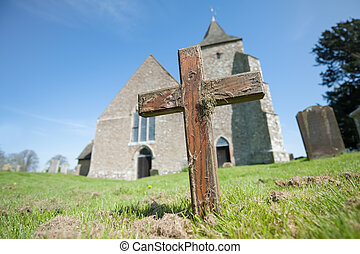 antigas, áspero, crucifixos