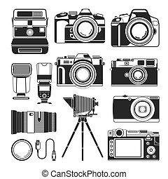 antigas, ícones, fotografia, modernos, equipamento, câmera, vetorial, retro, silueta, ou