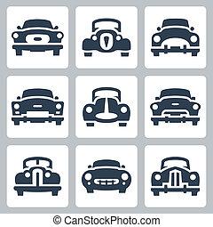 antigas, ícones, jogo, carros, vetorial, vista dianteira