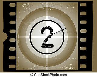 antigas, 2, película, -, sctratched, contagem regressiva