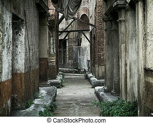 antigas, abandonado, casas, em, roma antiga