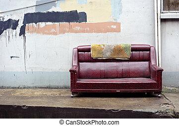 antigas, abandonado, sofá, esvaziado, rua