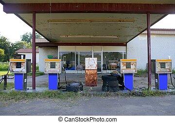 antigas, abandonado, vindima, estação gás, envelhecido