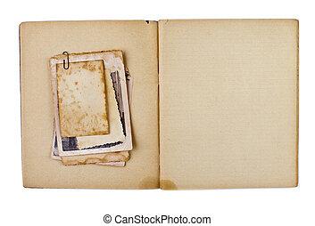 antigas, aberta, copybook, isolado, fotografias, diário, em branco, branca, ou, grupo