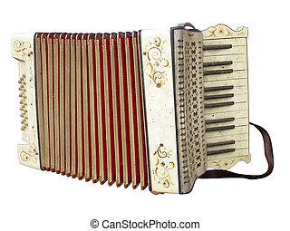 antigas, acordeão, sobre, isolado, instrumento, sujo,...