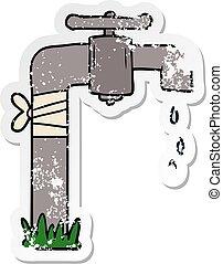 antigas, afligido, adesivo, torneira água, caricatura