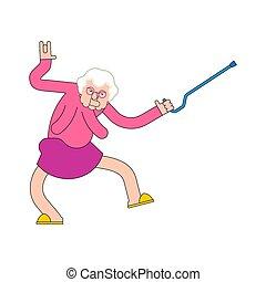 antigas, amamentação, partido., ilustração, dance., vó, vetorial, dances., vovó, lar, cool., senhora