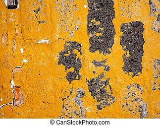 antigas, amarela, parede, textura