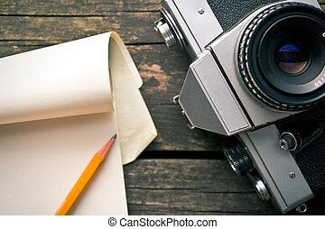 antigas, análogo, câmera, e, notepad
