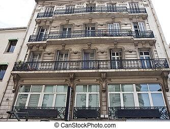 antigas, apartamentos, com, ferro, sacadas