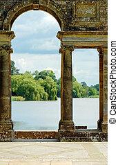 antigas, arcos, hever, castelo, jardins