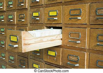 antigas, arquivo, com, gavetas