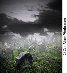 antigas, arruinado, cemitério, em, mistério, nevoeiro