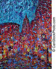 antigas, arte rua, quadro, abstratos, cidade