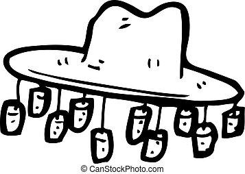 antigas, australiano, chapéu, caricatura