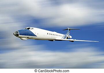 antigas, avião, ligado, céu azul