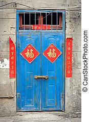 antigas, azul, chinês, porta, com, vermelho, fortuna boa, cartazes
