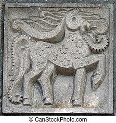 antigas, baixo-relevo, de, fairytale, cavalo