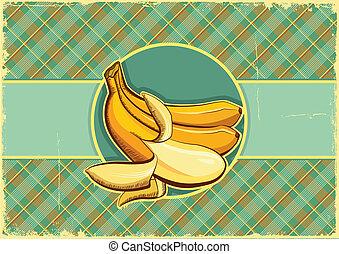 antigas, bananas, textura, papel, label.vintage, fundo, frutas