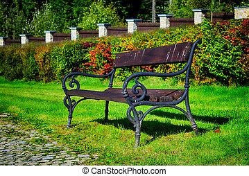 antigas, banco, parque