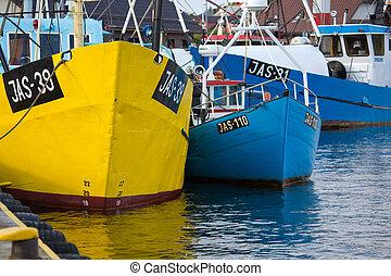 antigas, barcos pesca, em, jastarnia, poland.