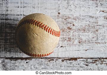 antigas, basebol, e, luva, ligado, madeira, fundo, com, filtro, efeito, retro, vindima, estilo