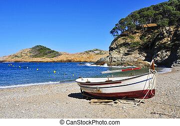 antigas, begur, bote, pesca, atum, praia, sa, espanha