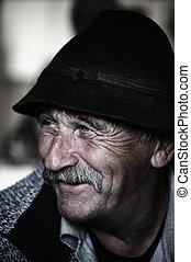 antigas, bigode, foto, retrato, envelhecido, homem