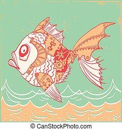 antigas, body., peixe, partes, ilustração, mão, papel, fundo, mecânico, desenhado