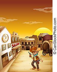 antigas, boiadeiro, arma, exterior, segurando, taverna