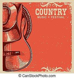 antigas, boiadeiro, país, guitarra, papel, música, chapéu, cartão