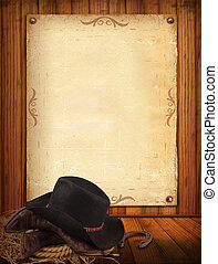 antigas, boiadeiro, texto, papel, ocidental, fundo, roupas