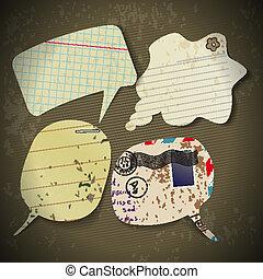 antigas, bolhas, papel, fala