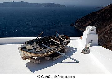 antigas, bote, telhado