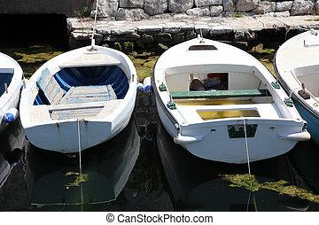 antigas, branca, barco madeira, em, perast, montenegro