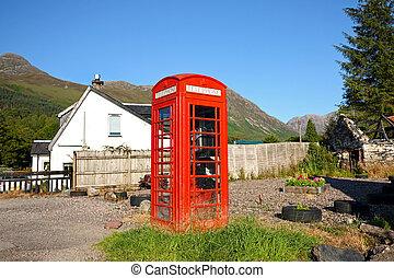 antigas, britânico, vermelho, phonebox, em, a, escocês, village.