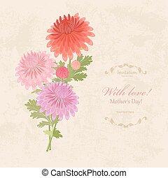 antigas, buquet, chrysanthemums, papel, fundo, encantador