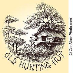 antigas, caça, cabana, em, a, madeiras, redondo, decoração, vetorial