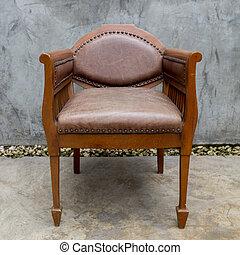 antigas, cadeira, em, grunge, sala