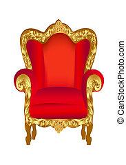 antigas, cadeira, vermelho, com, ouro