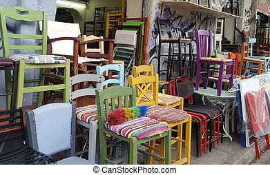 antigas, cadeiras, muitos, venda, mercado rua