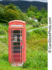 antigas, caixa vermelha telefone