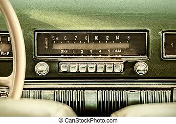 antigas, car, imagem, rádio, retro, denominado