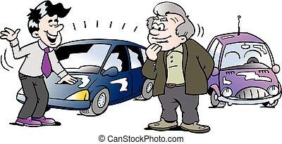 antigas, car, marca, ilustração, caricatura, vetorial, automático, novo, interessado, homem