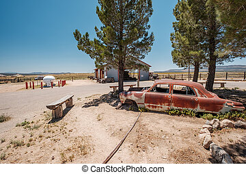 antigas, car, perto, histórico, rota 66, em, califórnia