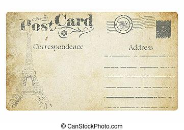 antigas, card., isolado, experiência., poste, branca